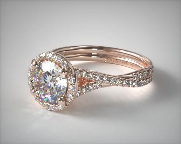 14K Rose Gold Pavé Halo and Twisted Shank Diamond Engagement Ring