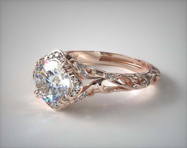 Diamond Filigree Engagement Ring 14K Rose Gold James Allen