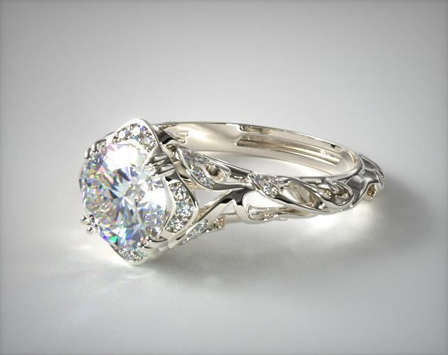 14K White Gold Diamond Filigree Engagement Ring