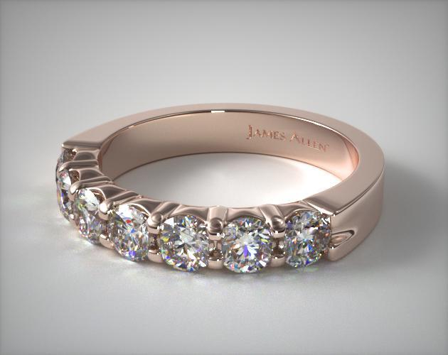 18K Rose Gold 0.75ctw Seven Stone Common Prong Diamond Anniversary Ring