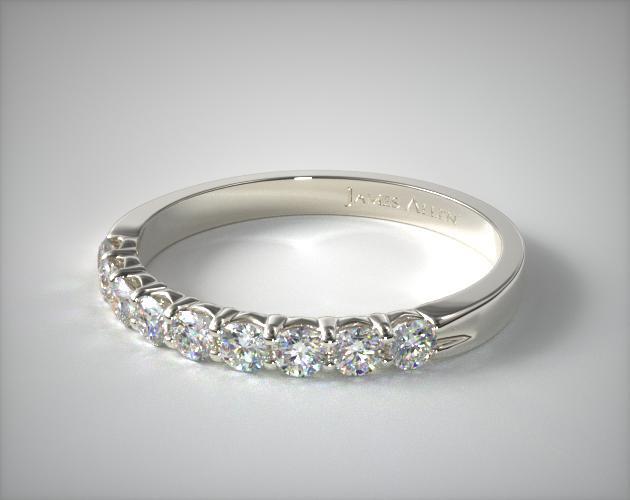 14K White Gold 0.50ctw Nine Stone Common Prong Diamond Anniversary Ring