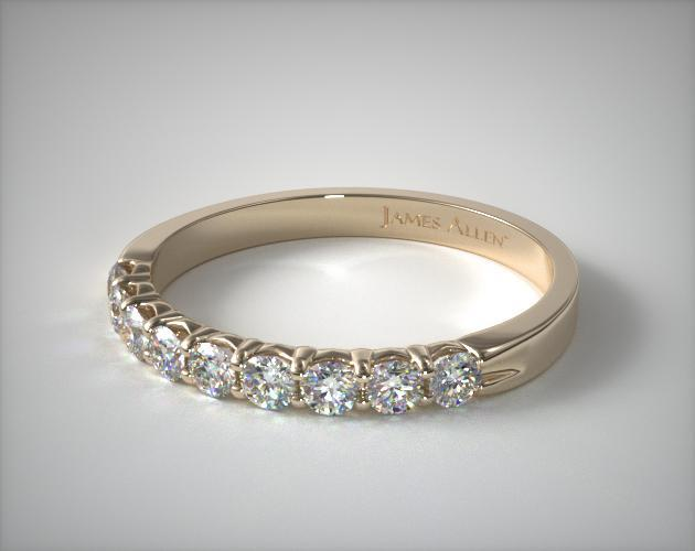 14K Yellow Gold 0.50ctw Nine Stone Common Prong Diamond Anniversary Ring