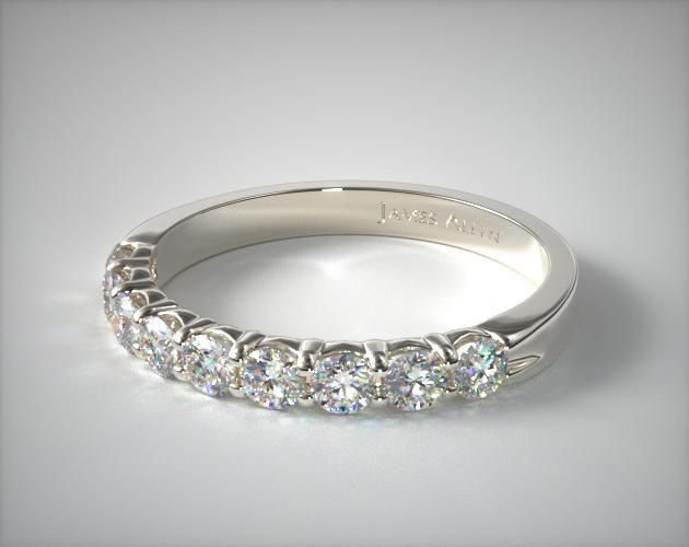 14K White Gold 1.00ctw Nine Stone Common Prong Diamond Anniversary Ring