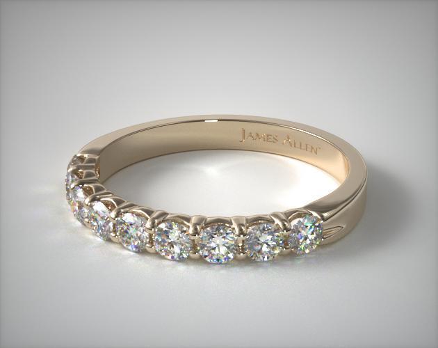 14K Yellow Gold 1.00ctw Nine Stone Common Prong Diamond Anniversary Ring