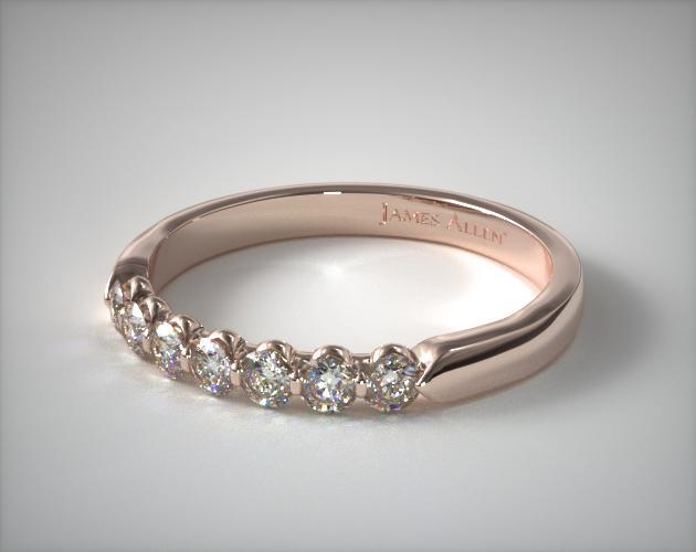 18K Rose Gold 0.25ctw Seven Stone Share Prong Diamond Anniversary Ring