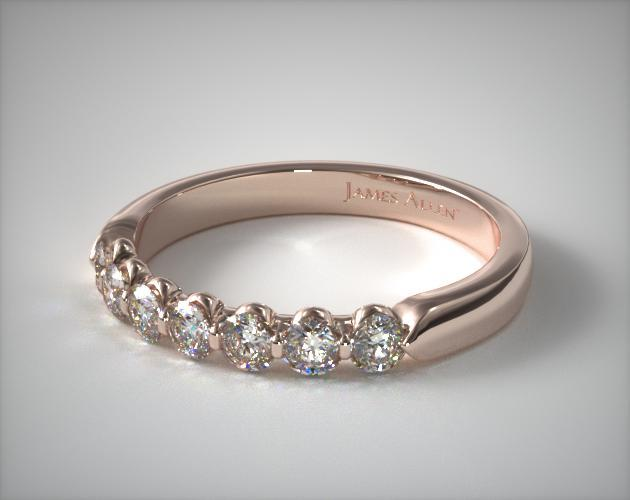 18K Rose Gold 0.50ctw Seven Stone Share Prong Diamond Anniversary Ring