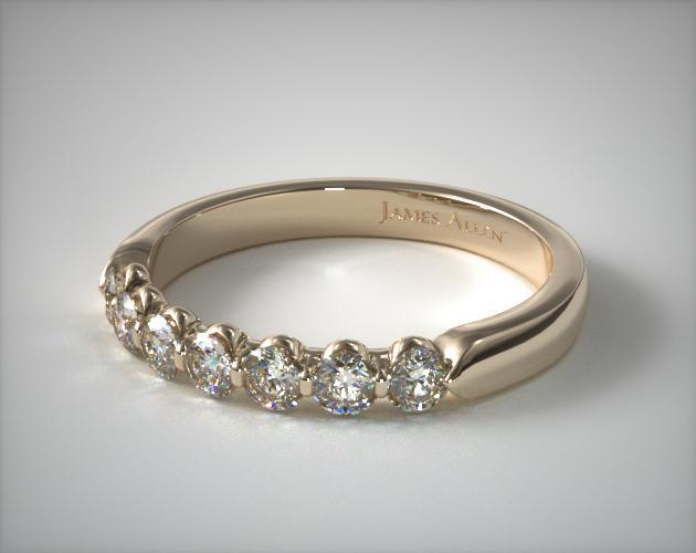 18K Yellow Gold 0.50ctw Seven Stone Share Prong Diamond Anniversary Ring
