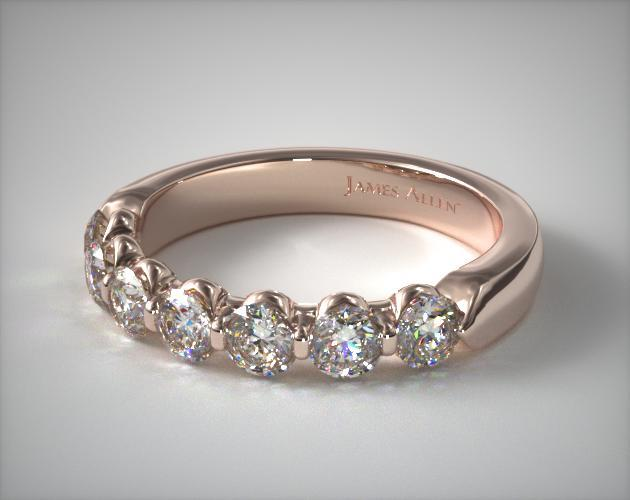18k Rose Gold 1.00ctw Seven Stone Share Prong Diamond Anniversary Ring
