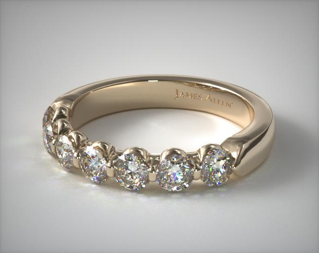 18K Yellow Gold 1.00ctw Seven Stone Share Prong Diamond Anniversary Ring