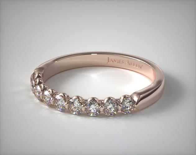 18k Rose Gold 0.50ctw Nine Stone Share Prong Diamond Anniversary Ring