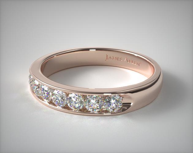 18k Rose Gold 0.25ctw Seven Stone Channel Set Diamond Anniversary Ring (F/G)