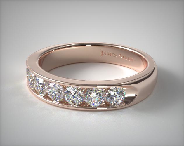14K Rose Gold 0.75ctw Seven Stone Channel Set Diamond Anniversary Ring