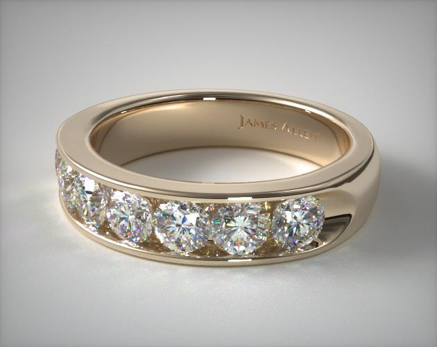 18K Yellow Gold 0.25ctw Seven Stone Channel Set Diamond Anniversary Ring (F/G)