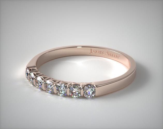 18k Rose Gold 0.25ctw Bar Set Diamond Anniversary Ring
