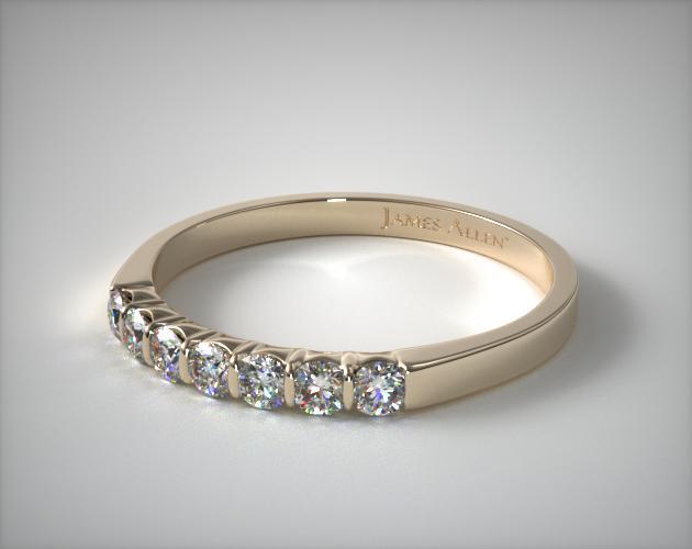 18K Yellow Gold 0.25ctw Bar Set Diamond Anniversary Ring