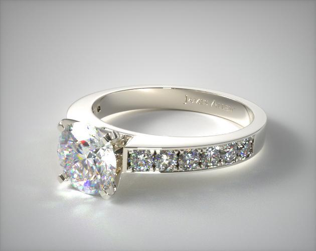 18K White Gold Round Raised Pave Diamond Engagement Ring