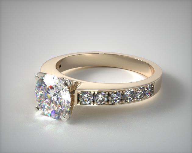 18K Yellow Gold Round Raised Pave Diamond Engagement Ring