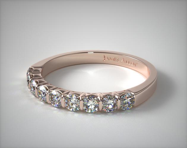 18k Rose Gold 0.50CTW. Bar Set Diamond Anniversary Ring