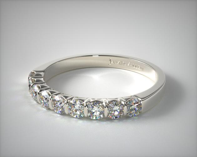 Platinum 0.50ctw Bar Set Diamond Anniversary Ring