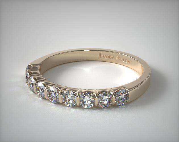 18K Yellow Gold 0.50ctw Bar Set Diamond Anniversary Ring