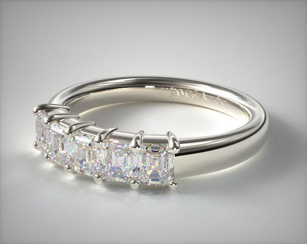 18K White Gold Emerald Shape Diamond Anniversary Ring (1 CTW.)