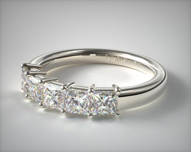 18K White Gold Princess Shape Diamond Anniversary Ring (1 CTW.)