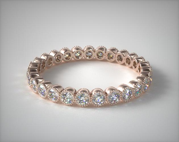 14K Rose Gold Milgrain Bezel Diamond Eternity Ring