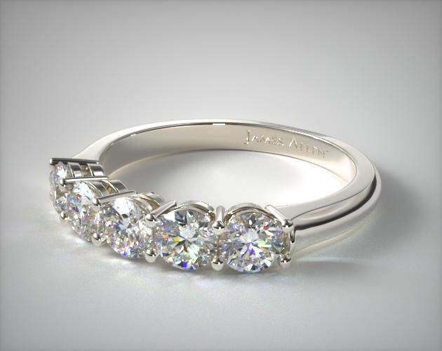 14K White Gold Five Stone Wire Basket Ring ( 1 CTW.)