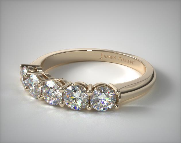 14K Yellow Gold Five Stone Wire Basket Ring ( 1 CTW.)