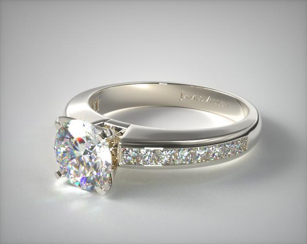 Platinum Channel Set Princess Shaped Engagement Ring