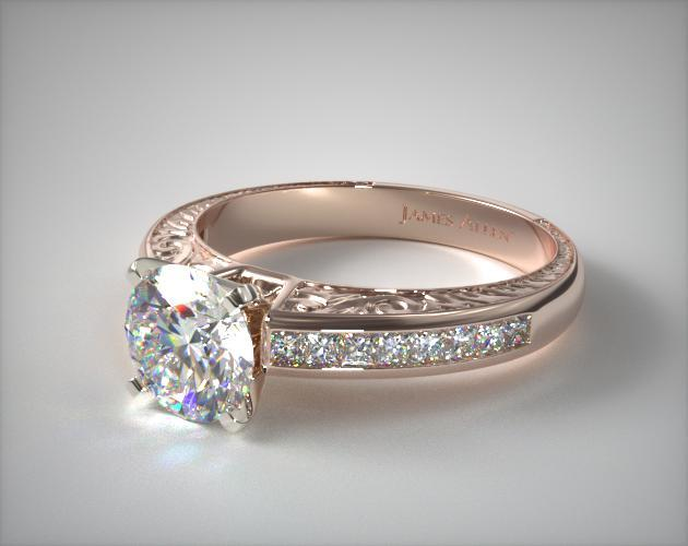 14K Rose Gold Engraved Princess Shaped Diamond Engagement Ring
