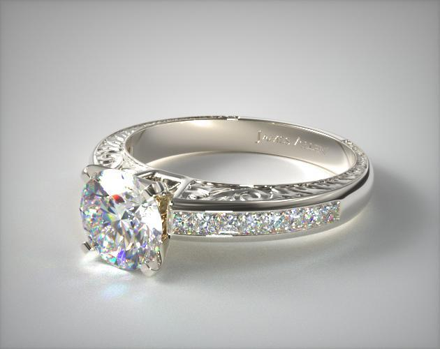 14K White Gold Engraved Princess Shaped Diamond Engagement Ring