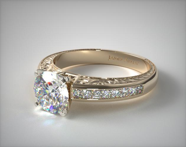 18K Yellow Gold Engraved Princess Shaped Diamond Engagement Ring