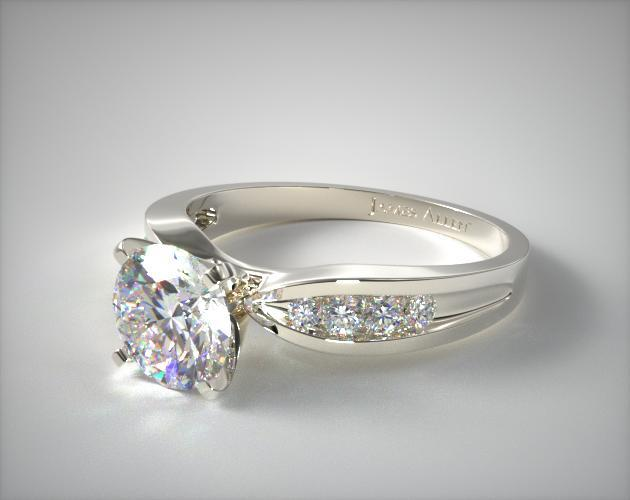 18K White Gold Bow-Tie Channel Set Diamond Engagement Ring