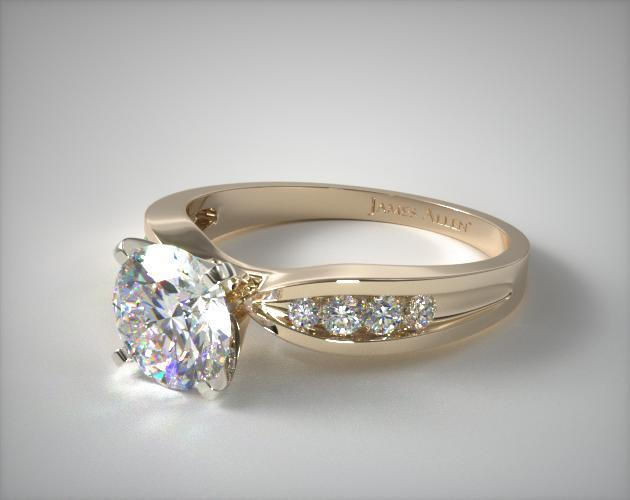 18K Yellow Gold Bow-Tie Channel Set Diamond Engagement Ring