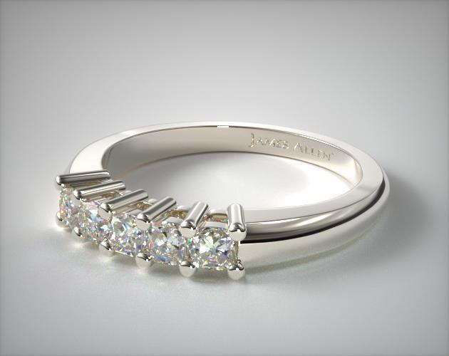 18K White Gold Five Stone Cushion Ring ( 0.50 CTW.)
