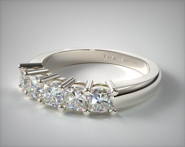 18K White Gold Five Stone Cushion Ring ( 1 CTW.)