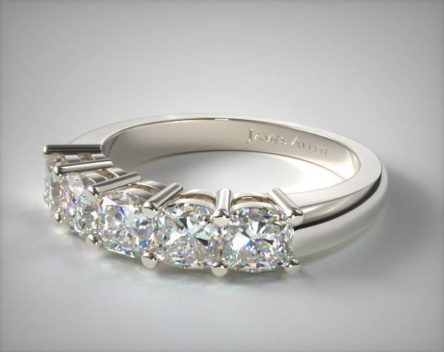 18K White Gold Five Stone Cushion Ring ( 1.50 CTW.)