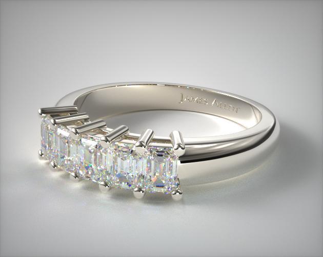 18K White Gold Five Stone Emerald Ring ( 1 CTW.)