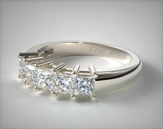 18K White Gold Five Stone Princess Ring ( 1 CTW.)