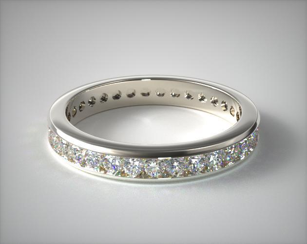 14K White Gold Ladies 0.75CTW.* Channel Set Diamond Eternity Ring