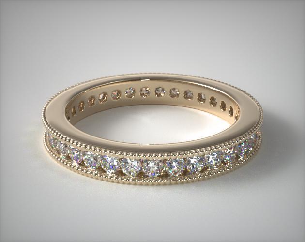 18K Yellow Gold Ladies 0.75ctw* Milgrain Channel Set Diamond Eternity Ring