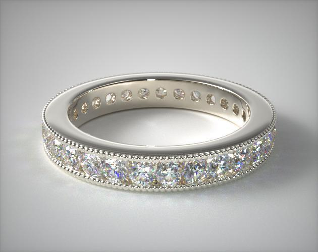 18K White Gold Ladies 1.00ctw* Milgrain Channel Set Diamond Eternity Ring
