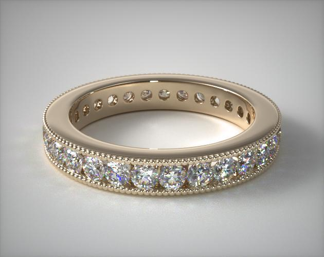 18K Yellow Gold Ladies 1.00ctw* Milgrain Channel Set Diamond Eternity Ring