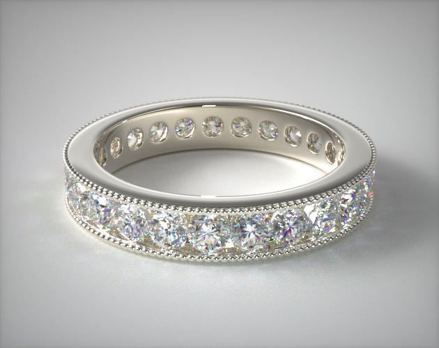14K White Gold Ladies 1.50ctw* Milgrain Channel Set Diamond Eternity Ring