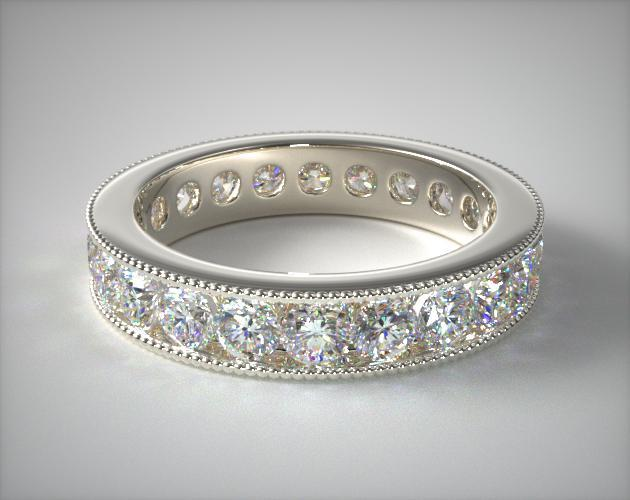 18K White Gold Ladies 2.00ctw* Milgrain Channel Set Diamond Eternity Ring