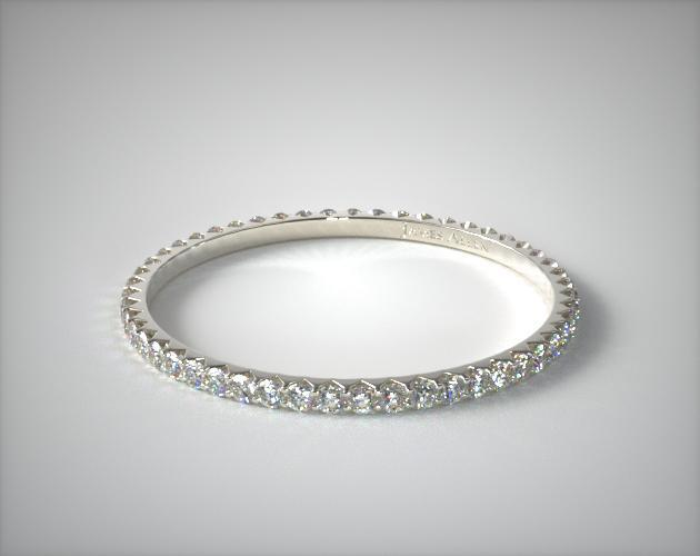 14K White Gold Ladies 0.28CTW.* Angled Common Prong Diamond Eternity Ring