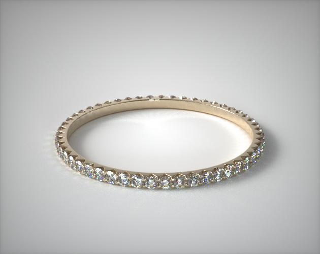 18K Yellow Gold Ladies 0.28ctw* Angled Common Prong Diamond Eternity Ring