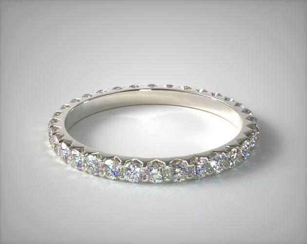 Platinum Ladies 0.75CTW.* Angled Common Prong Diamond Eternity Ring