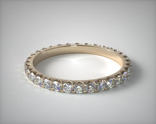 18K Yellow Gold Ladies 0.75ctw* Angled Common Prong Diamond Eternity Ring